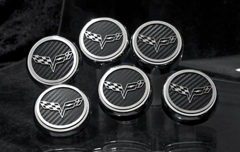 C6 Corvette cross flags logo engine caps