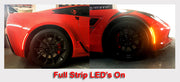 C7 Corvette Clear LED Side Marker Lights on off