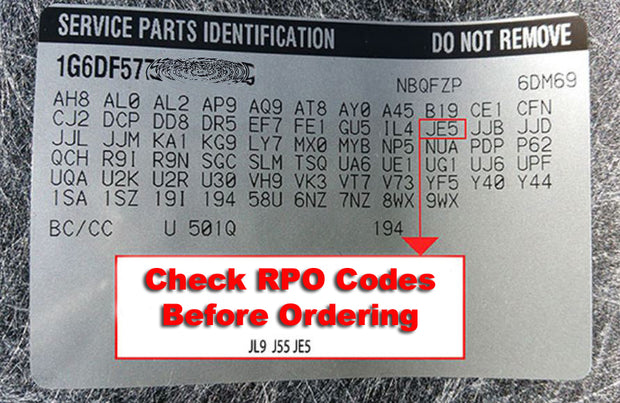 Corvette RPO Codes - Brake Systems