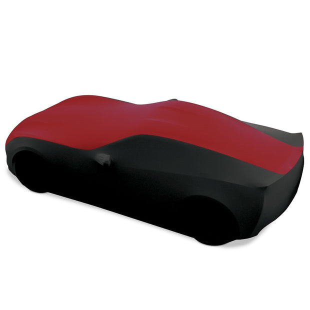 c7 corvette dark red and black stretch satin car cover