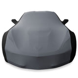 c7 stretch satin car cover gray and black