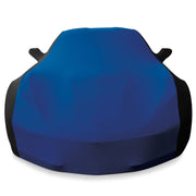 west coast corvette c7 corvette blue and black stretch satin car cover