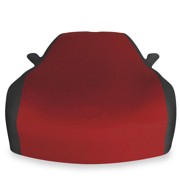 west coast corvette dark red and black stretch satin car cover c6