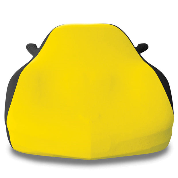 west coast corvette yellow and black stretch satin car cover