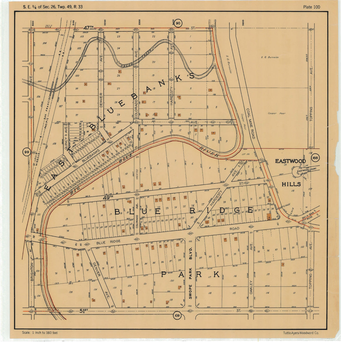 Kansas City 1925 Neighborhood Map - Plate #100 47th-51st Brighton-Topping