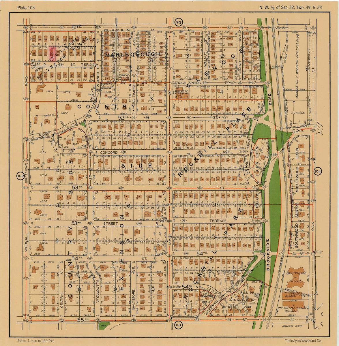 Kansas City 1925 Neighborhood Map - Plate #103 51st-55th Wornall-Oak