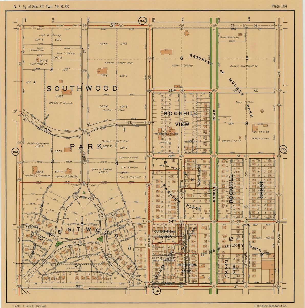 Kansas City 1925 Neighborhood Map - Plate #104 51st-55th Oak-Troost
