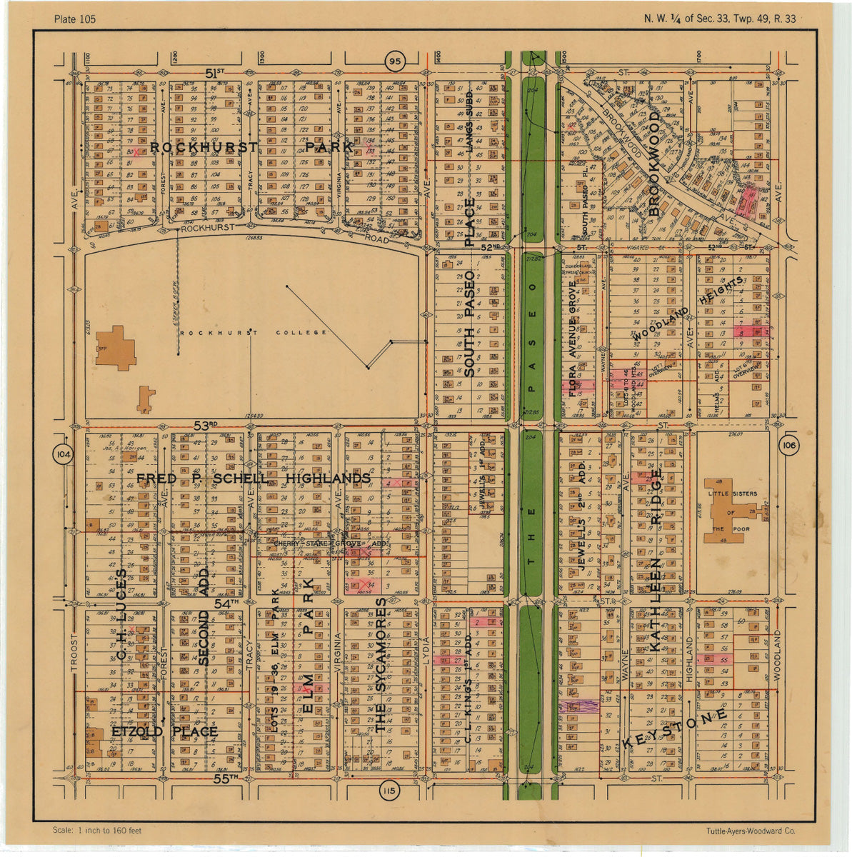 Kansas City 1925 Neighborhood Map - Plate #105 51st-55th Troost-Woodland