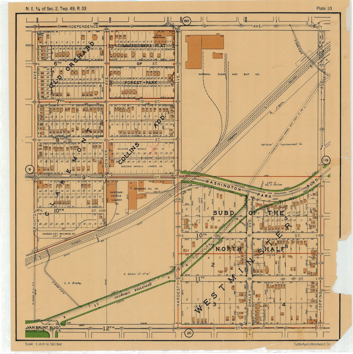 Kansas City 1925 Neighborhood Map - Plate #10 Independence-12th Brighton-Topping
