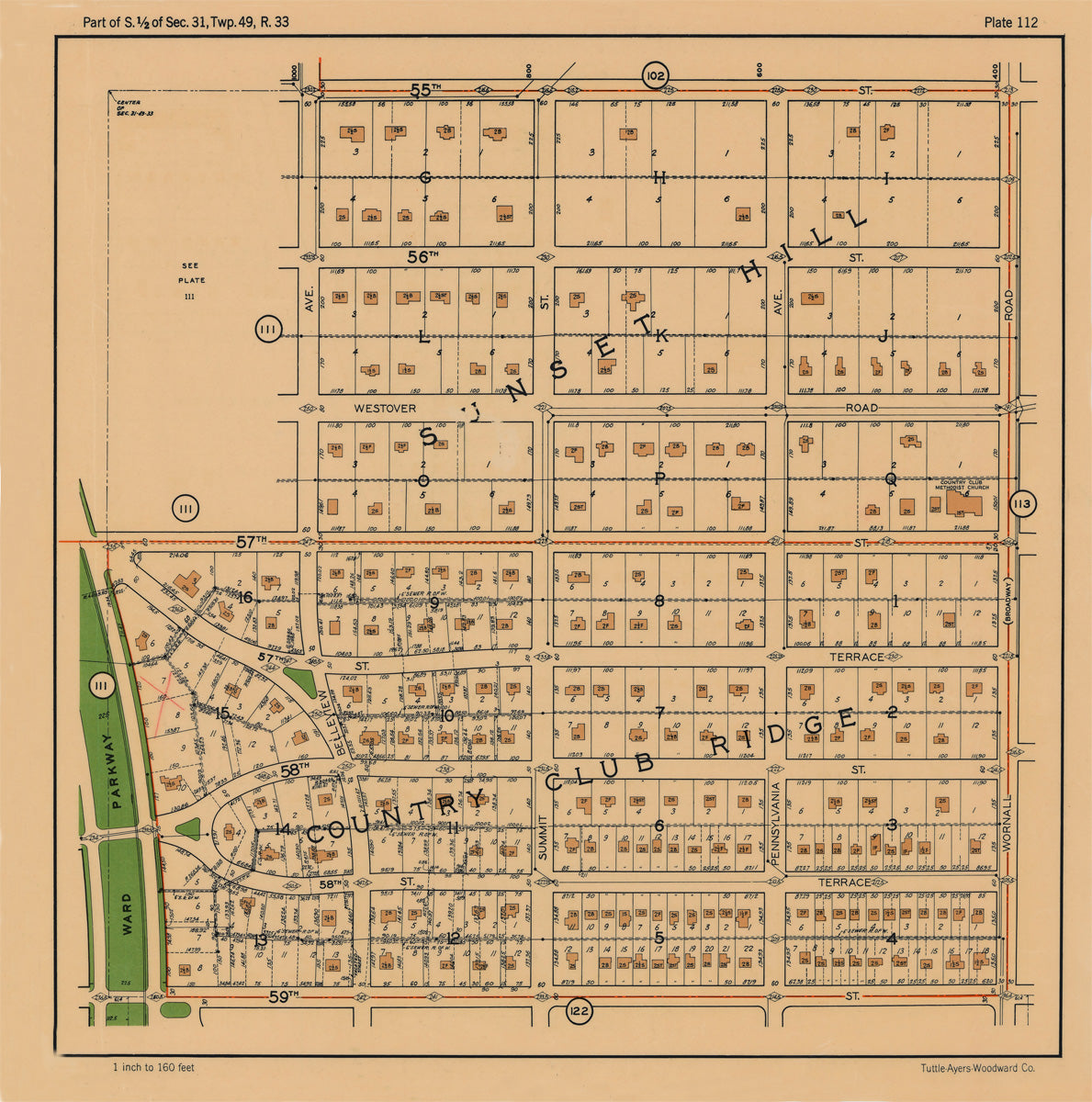 Kansas City 1925 Neighborhood Map - Plate #112 55th-59th Ward Pkwy-Wornall