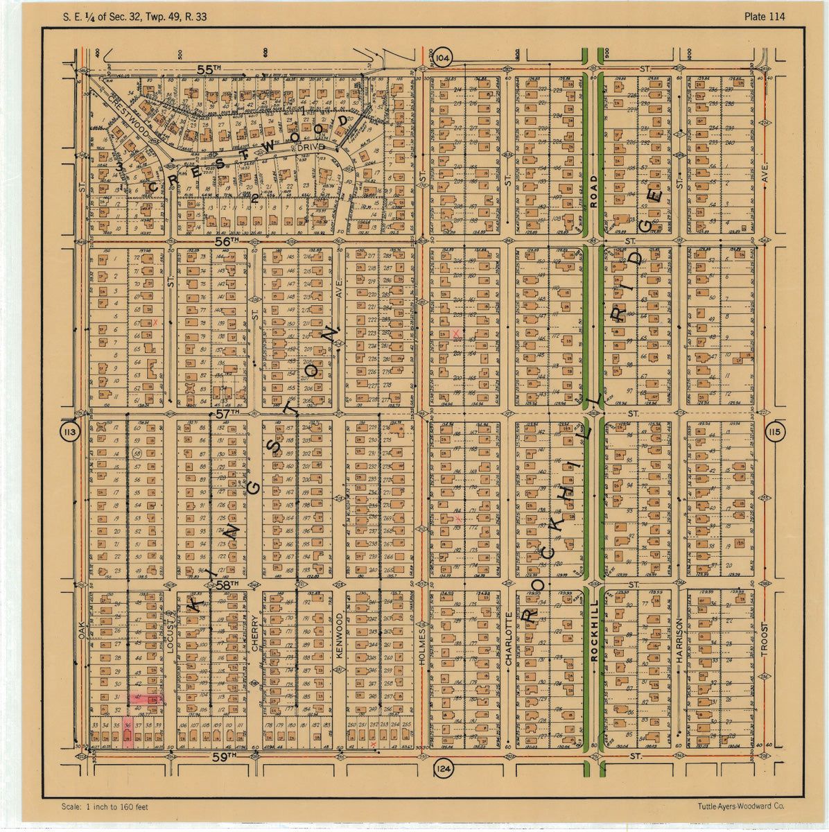 Kansas City 1925 Neighborhood Map - Plate #114 55th-59th Oak-Troost