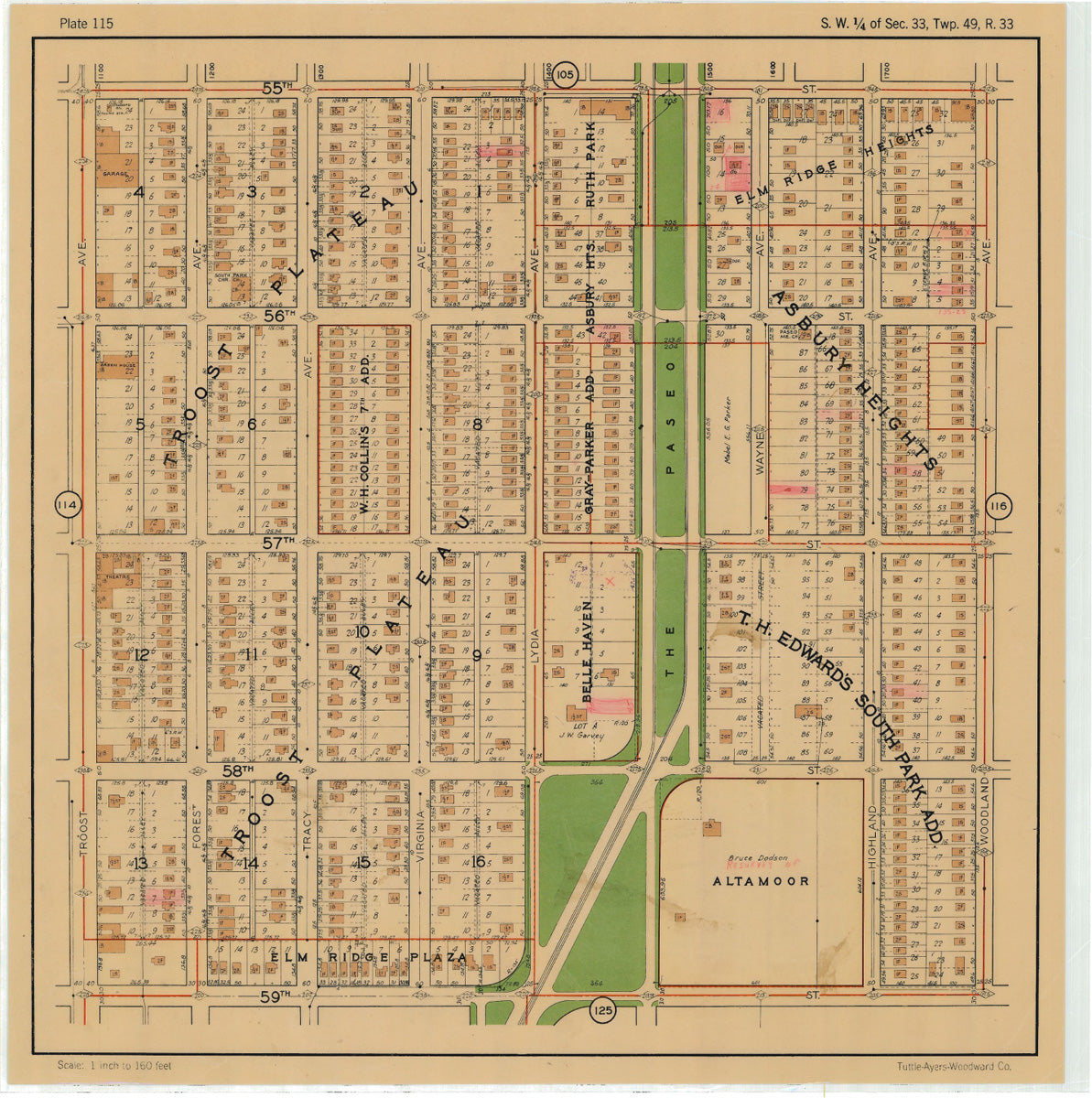 Kansas City 1925 Neighborhood Map - Plate #115 55th-59th Troost-Woodland