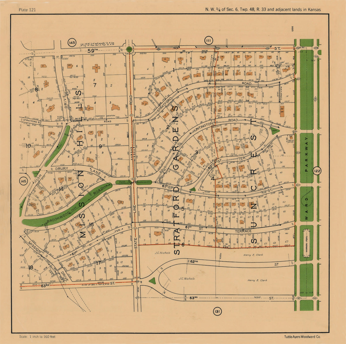 Kansas City 1925 Neighborhood Map - Plate #121 59th-63rd High Dr-Ward Pkwy