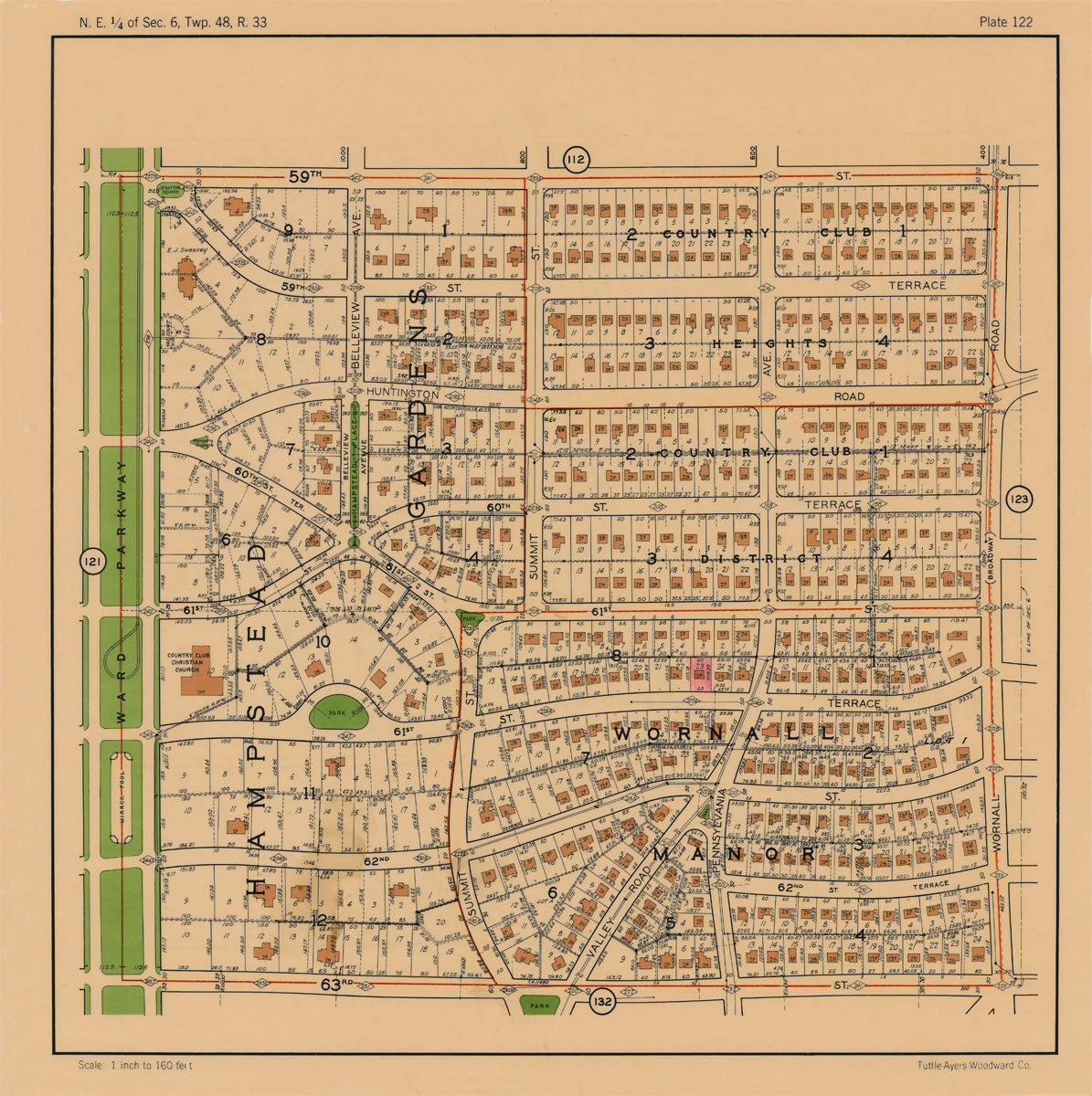 Kansas City 1925 Neighborhood Map - Plate #122 59th-63rd Ward Pkwy-Wornall
