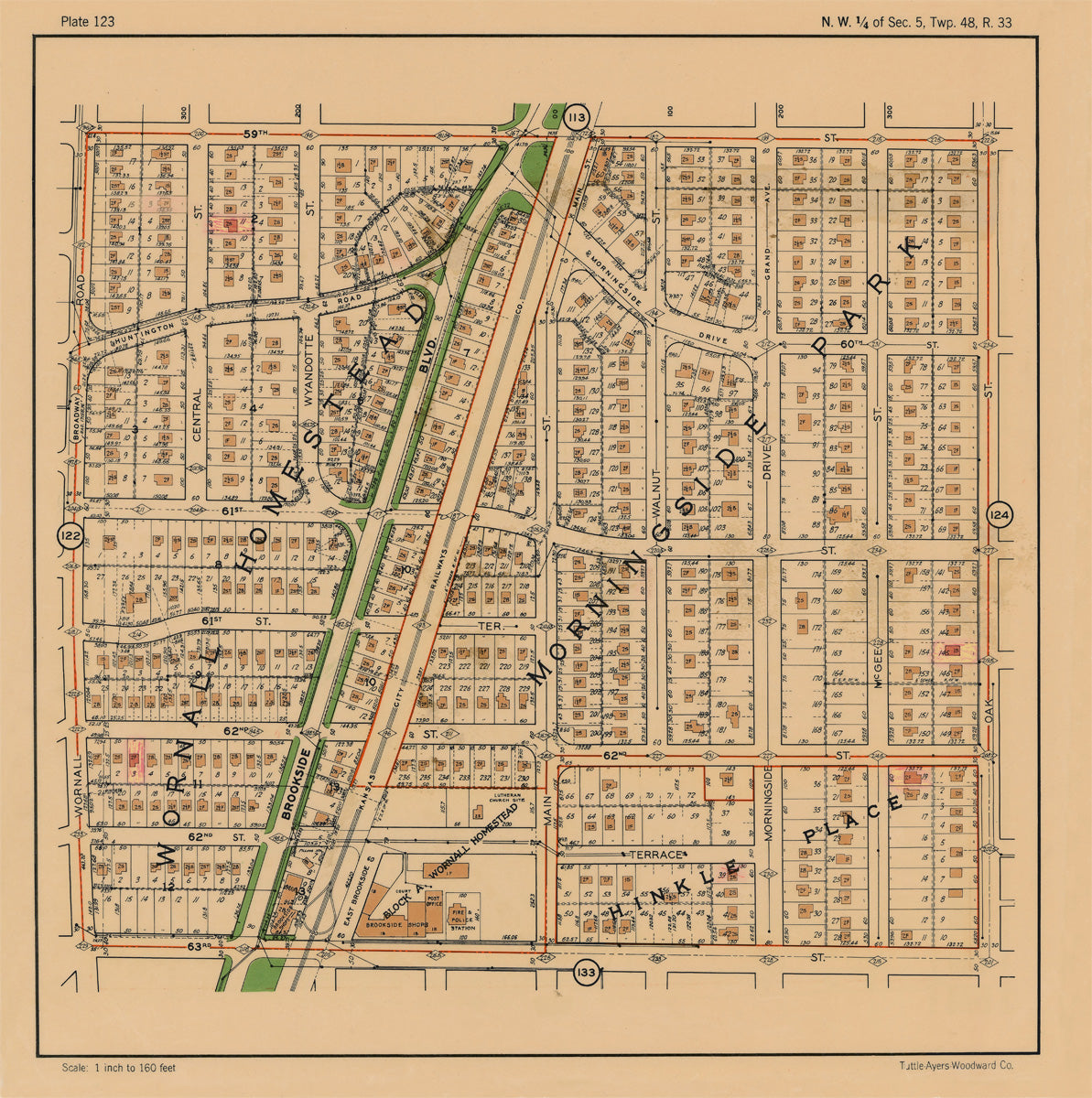 Kansas City 1925 Neighborhood Map - Plate #123 59th-63rd Wornall-Oak