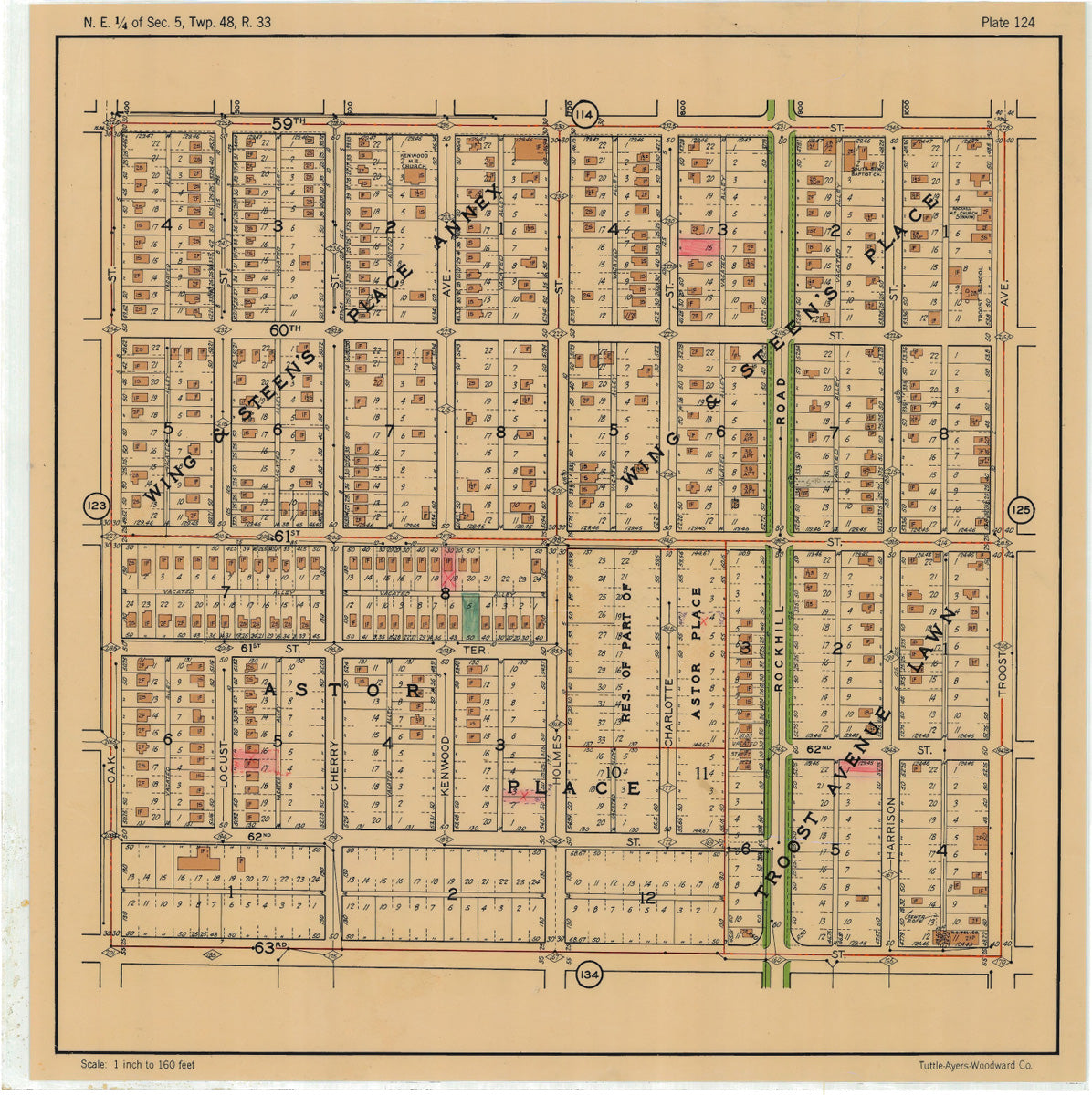 Kansas City 1925 Neighborhood Map - Plate #124 59th-63rd Oak-Troost