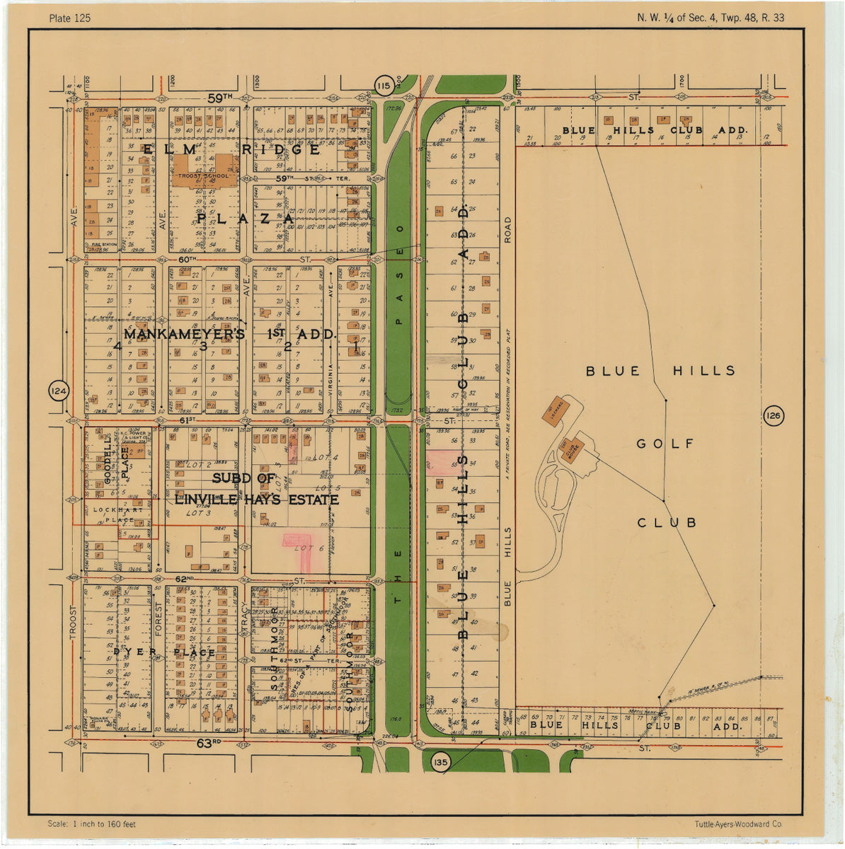 Kansas City 1925 Neighborhood Map - Plate #125 59th-63rd Troost-Blue Hills