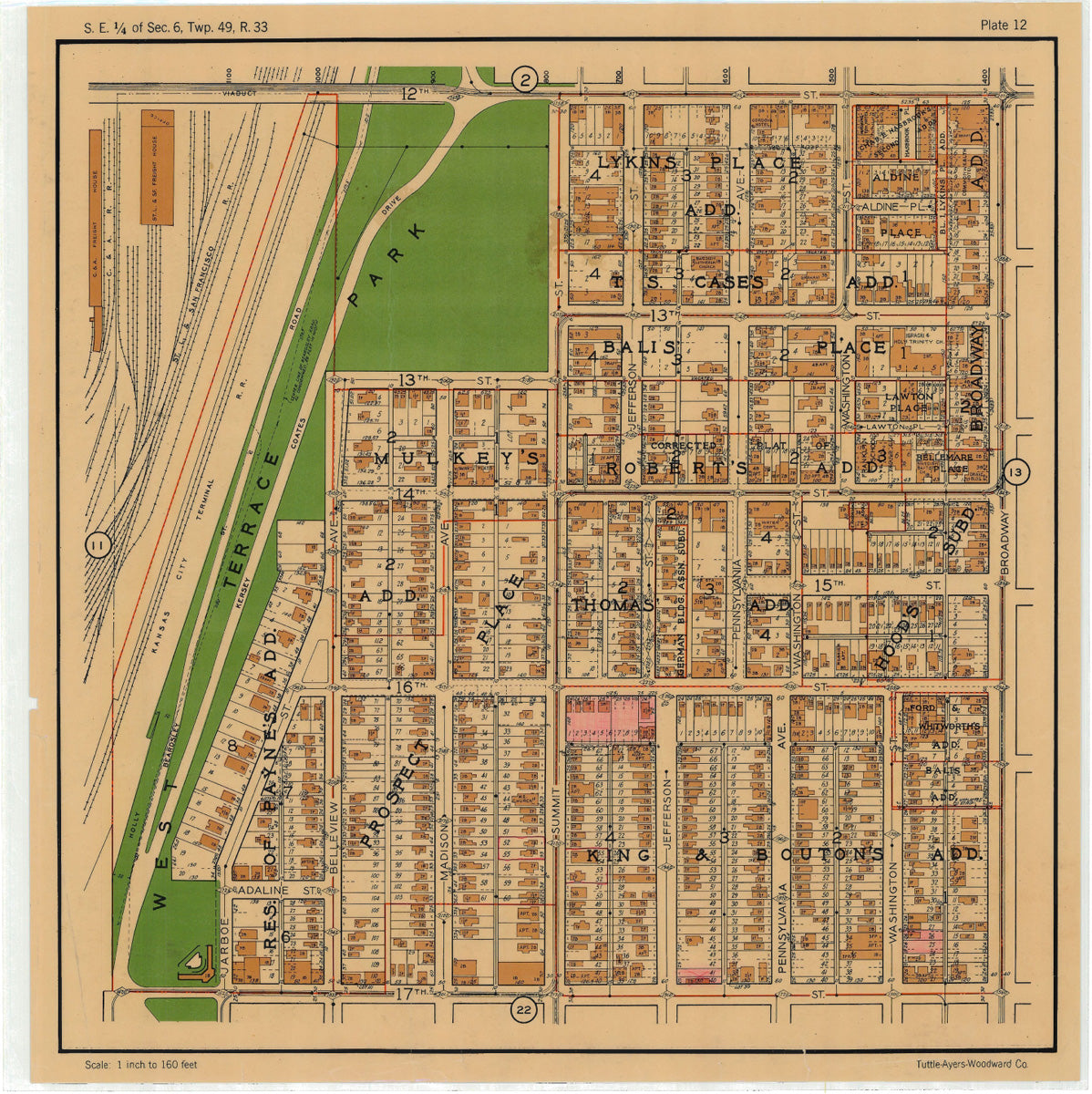 Kansas City 1925 Neighborhood Map - Plate #12 12th-17th Jarboe-Broadway