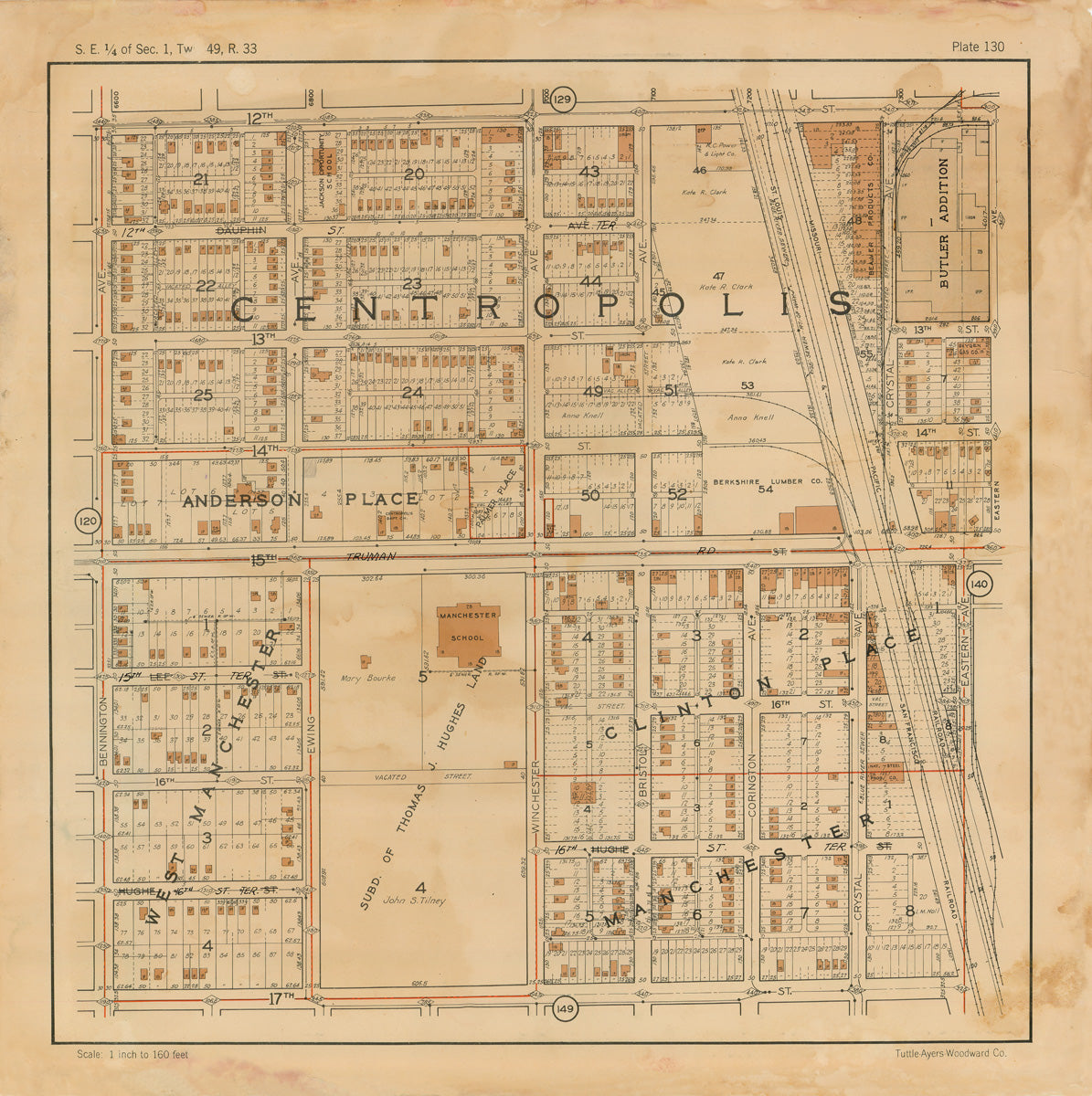 Kansas City 1925 Neighborhood Map - Plate #130 12th-17th Bennington-Crystal