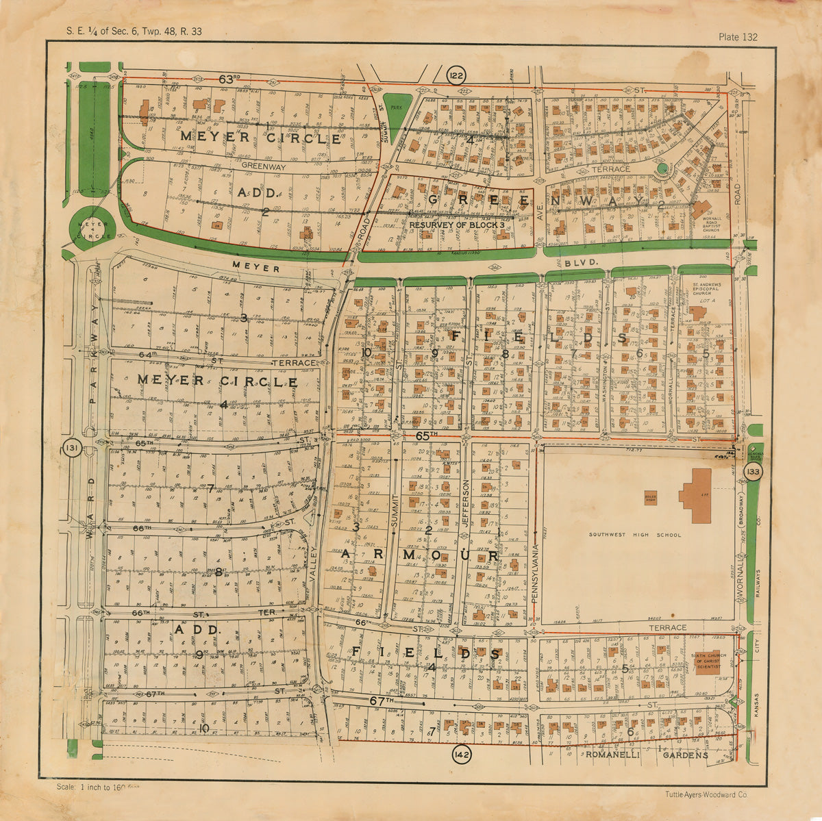 Kansas City 1925 Neighborhood Map - Plate #132 63rd-67th Ward Pkwy-Wornall
