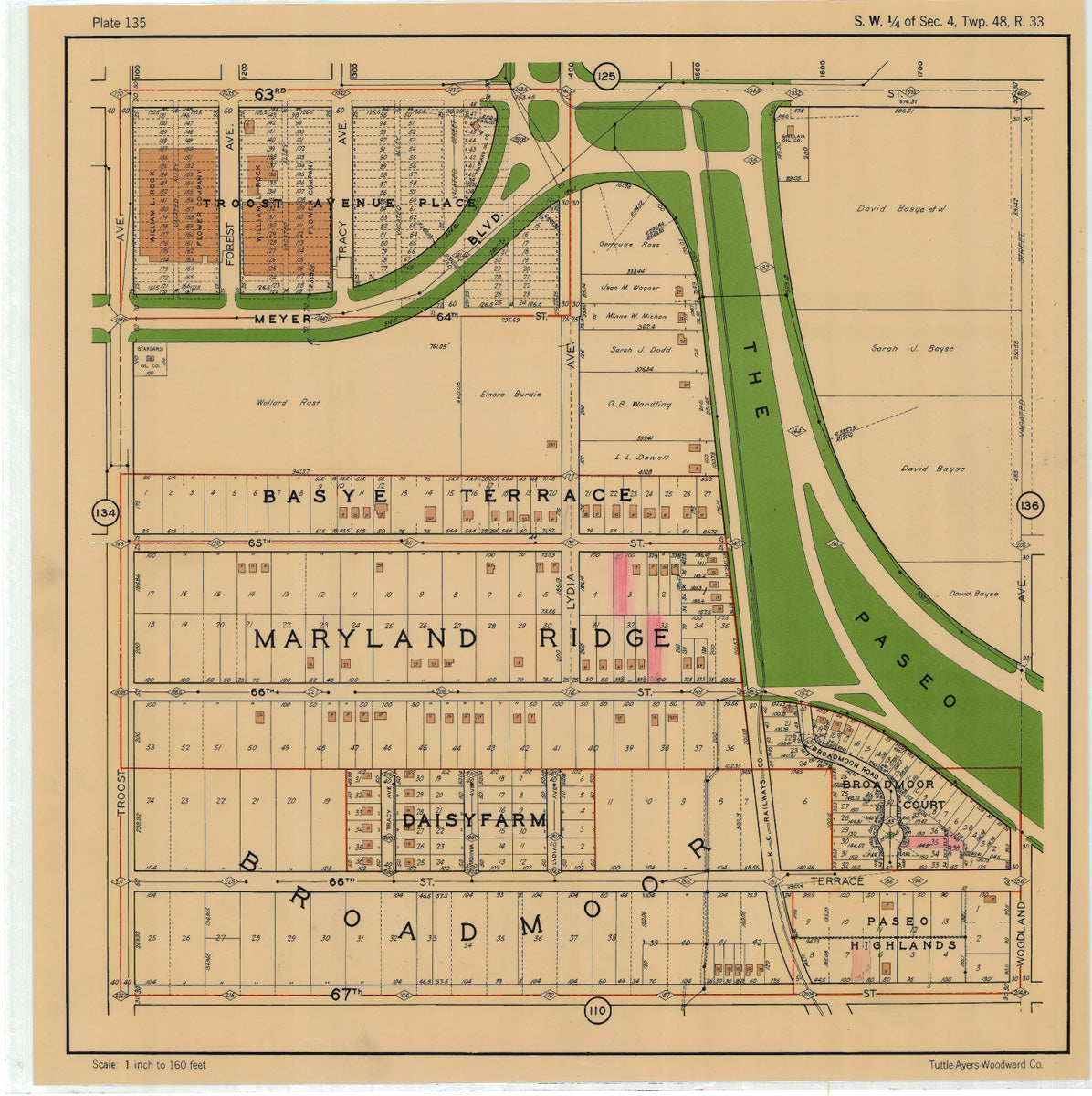 Kansas City 1925 Neighborhood Map - Plate #135 63rd-67th Troost-Woodland