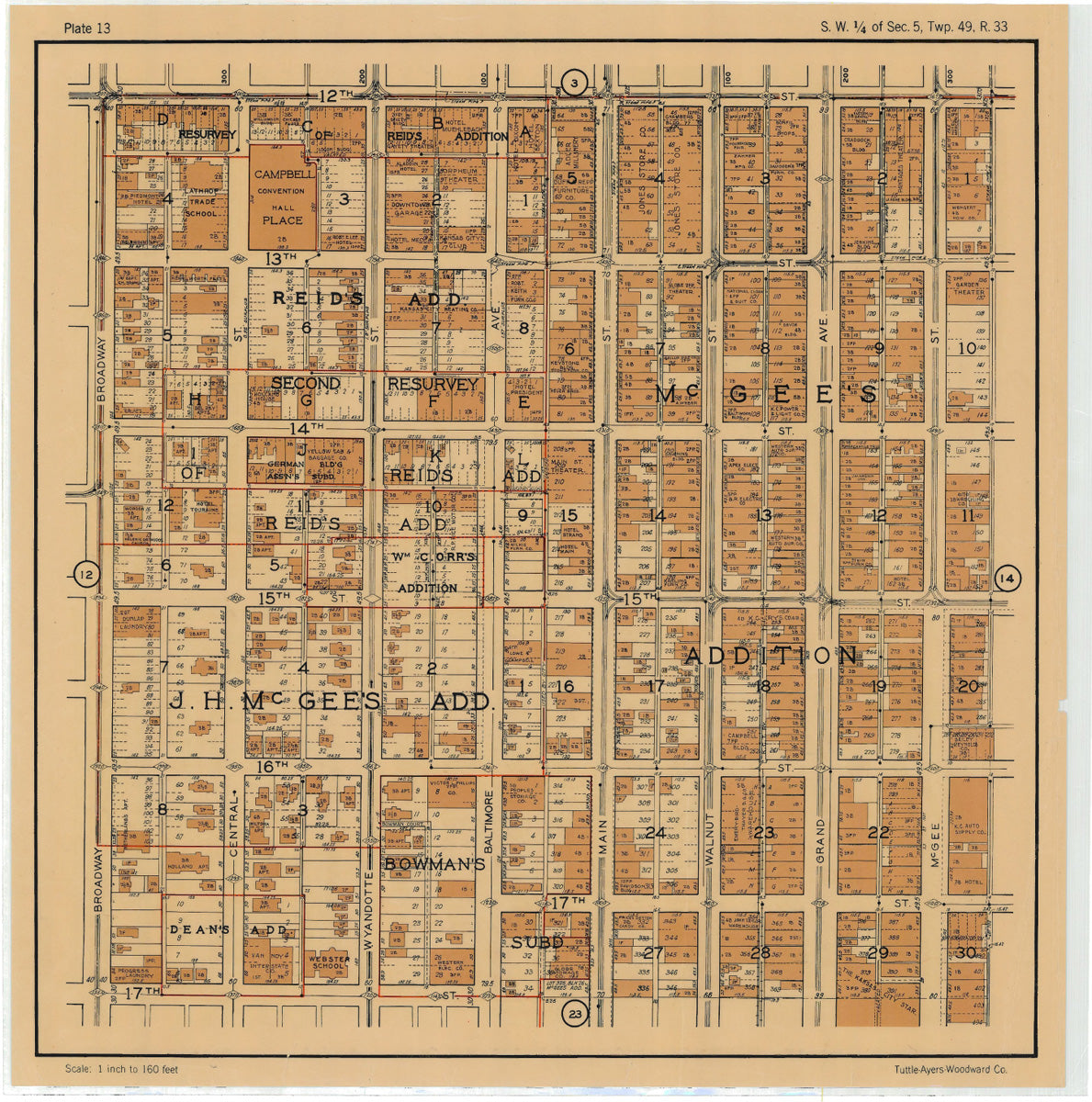 Kansas City 1925 Neighborhood Map - Plate #13 12th-17th Broadway-McGEE