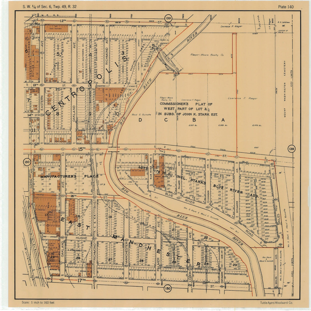 Kansas City 1925 Neighborhood Map - Plate #140 12th-17th Eastern-Skiles