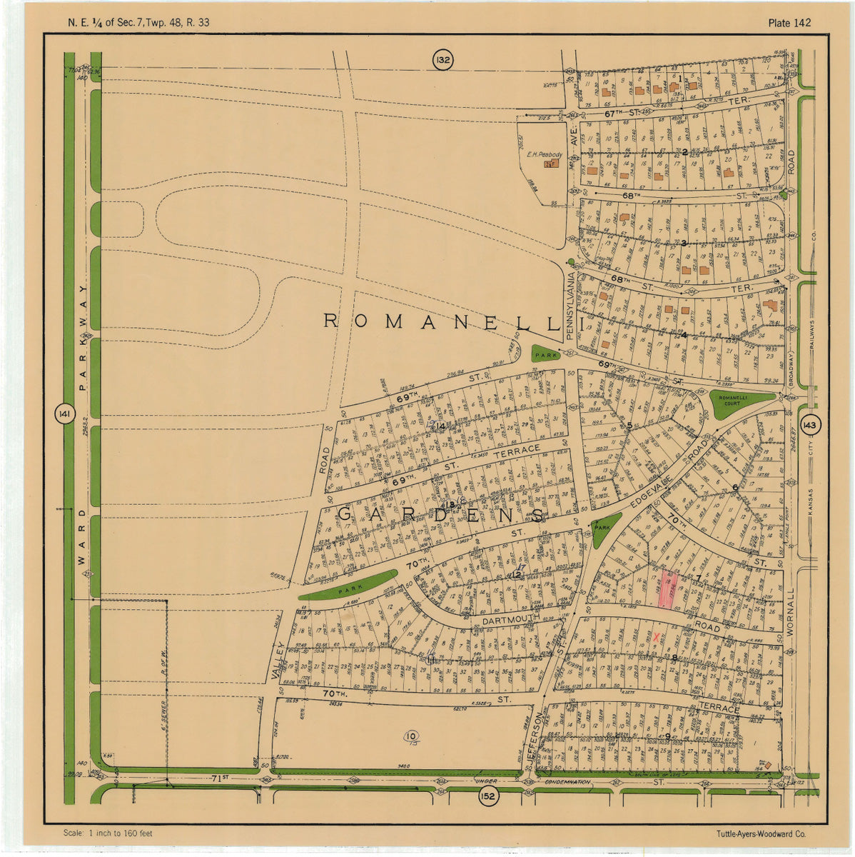 Kansas City 1925 Neighborhood Map - Plate #142 67th-71st Ward Pkwy-Wornall