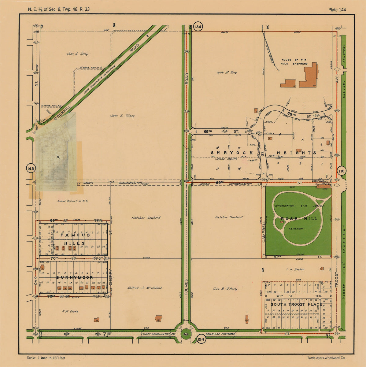 Kansas City 1925 Neighborhood Map - Plate #144 68th-71st Oak-Troost