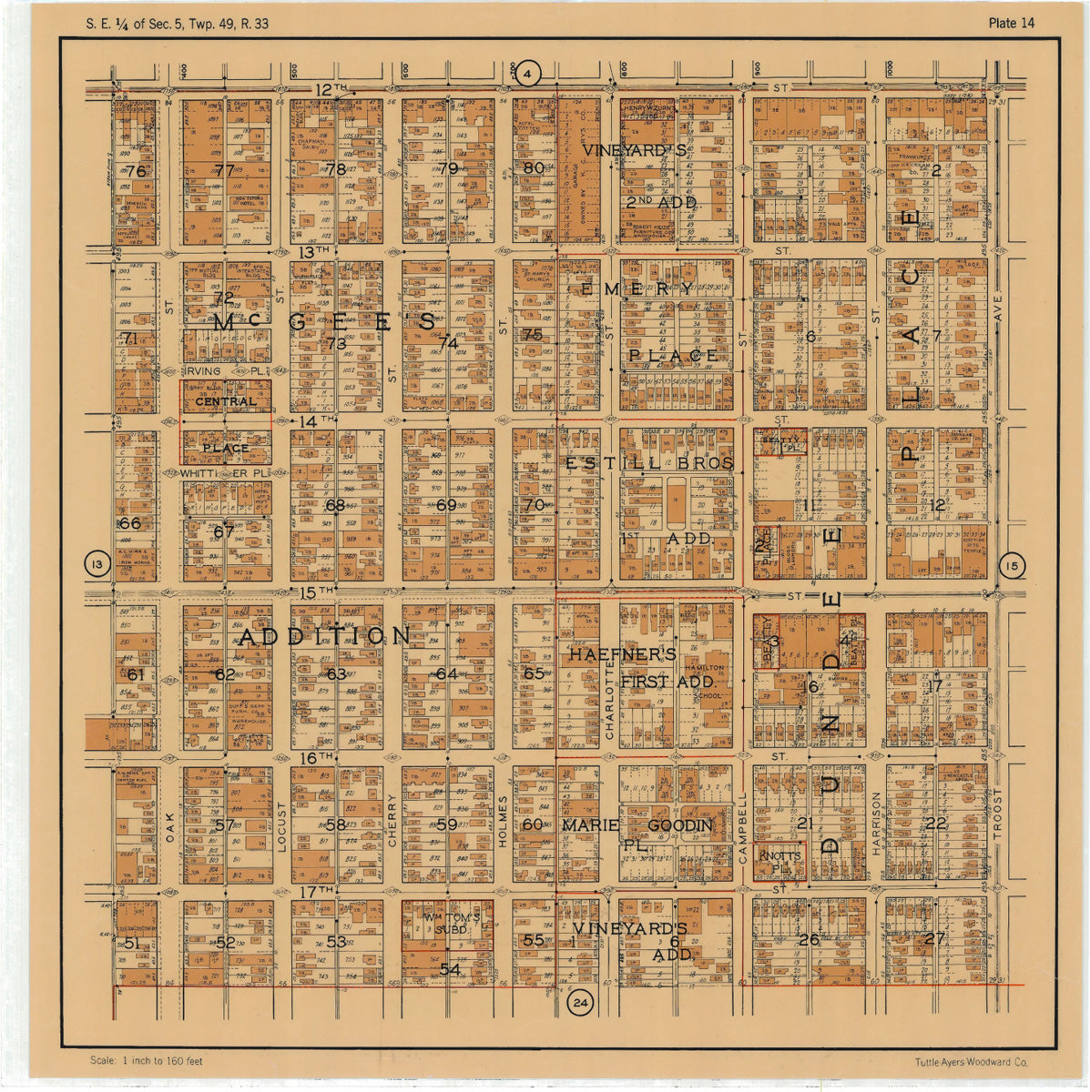 Kansas City 1925 Neighborhood Map - Plate #14 12th-17th Oak-Troost