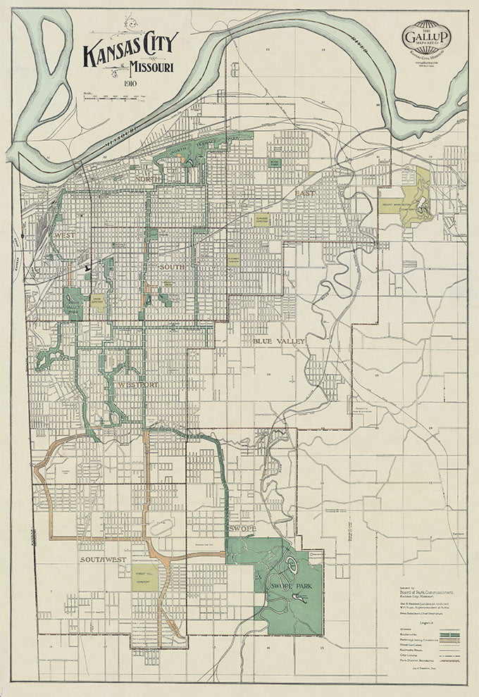 1910 Kansas City Map with Schools, Park and Boulevards.
