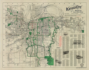 Kansas City Missouri Berry Streetcar Antique Vintage Map 1914 Classic Style
