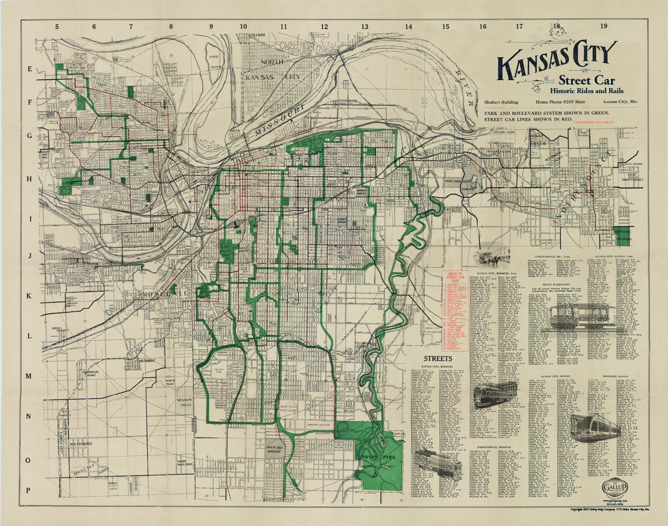 Kansas City Berry Map Company Street Car Map Anitique Vintage - Kansas city map