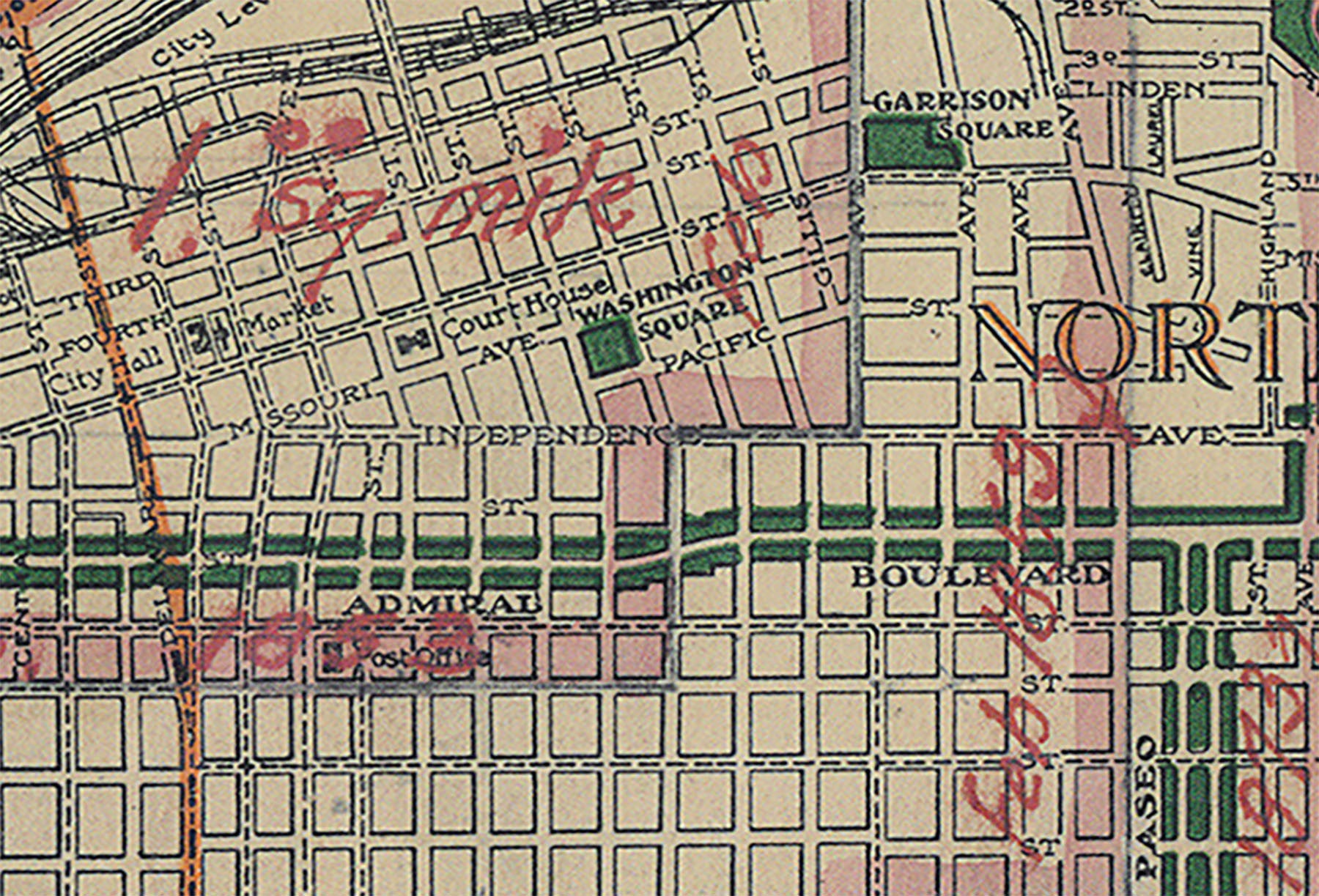 1915 Kansas City Map With Schools And Decades Of City Limit Changes Gallup Map