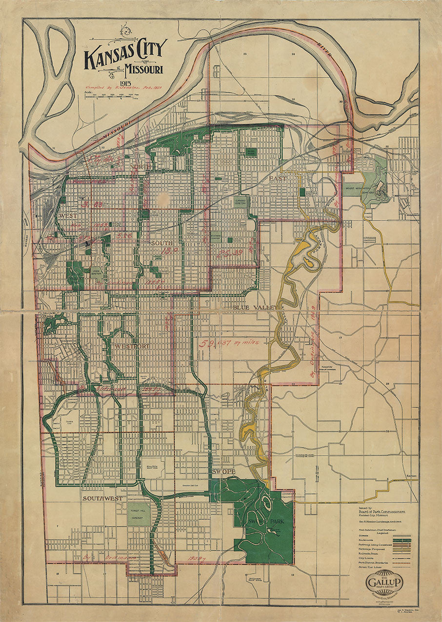 1915 Kansas City Map with Schools and decades of City Limit changes