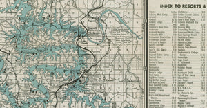 Lake of the Ozarks Original Map dated 1935 Resorts, camps, lodges, clubs and more.