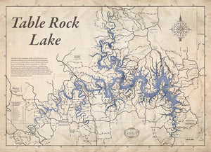 Table Rock Lake Map Old West Style