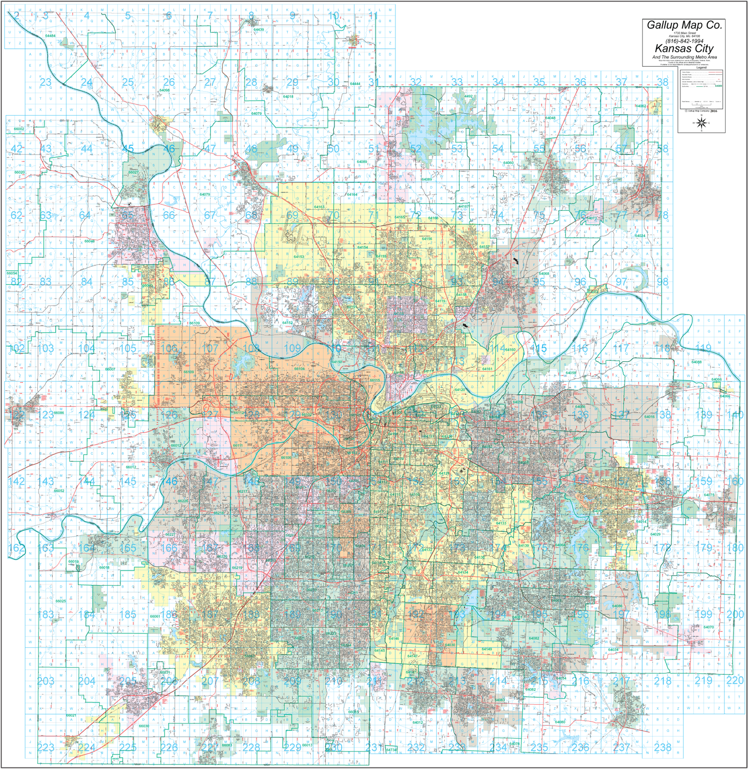 Kansas City Street and Zip Code Wall Map - Gallup Map on