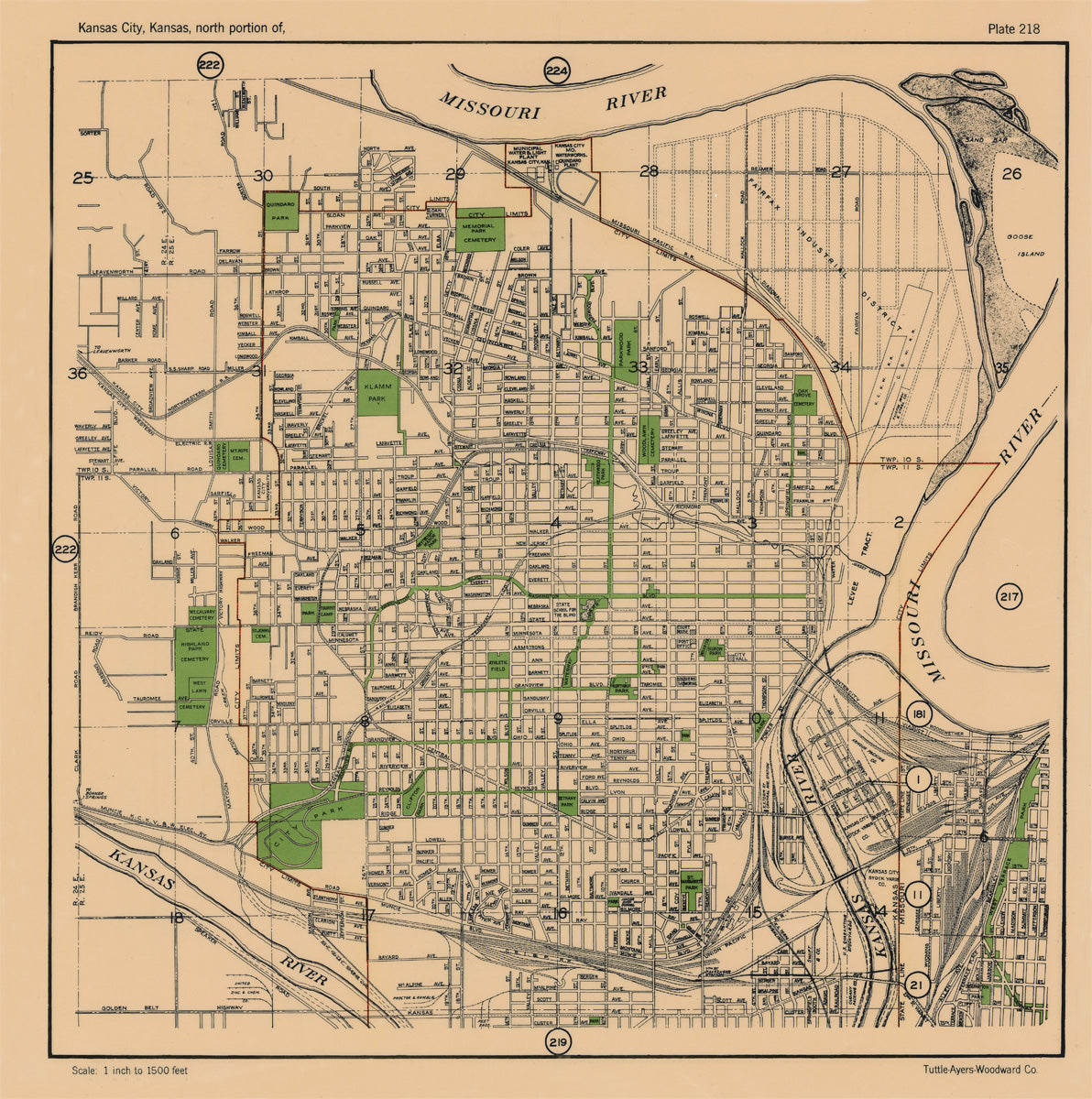 Kansas City 1925 Neighborhood Map - Plate #218 Northeast WYCO ...