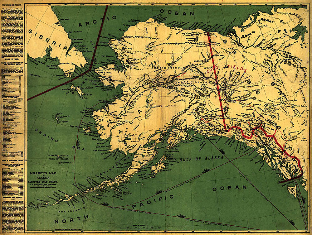 Alaska Antique Vintage Map 1897 - Gallup Map