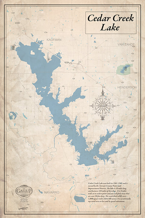 Cedar Creek Lake Old West Style Canvas Map