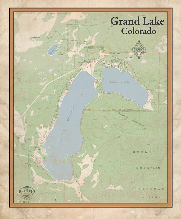 Grand Lake and Shadow Mountain Colorado Classic Map