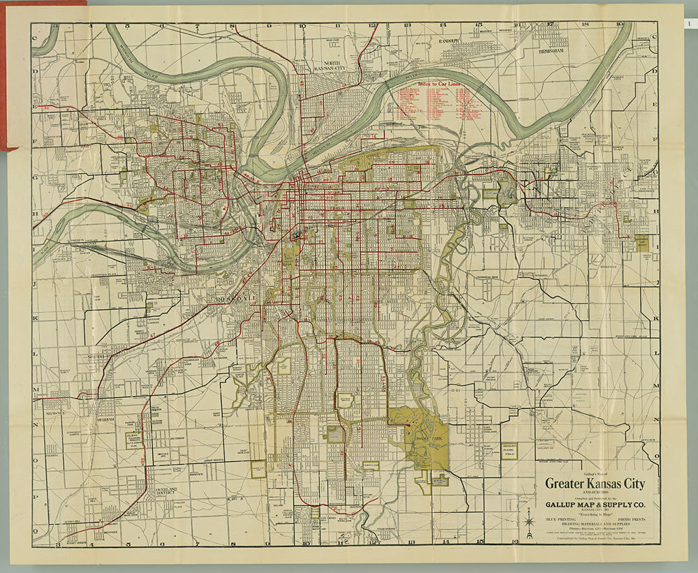 1926 Kansas City Gallup Map Company Antique Map featuring the Street Cars.