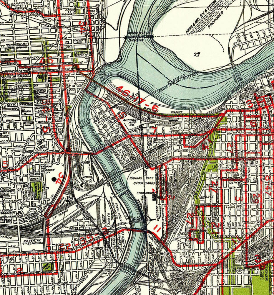 1926 Kansas City Gallup Map Company Antique Map feautring the Street C