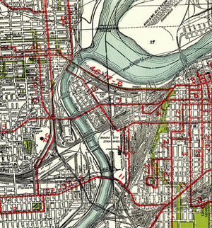 1926 Kansas City Gallup Map Company Antique Map feautring the Street Cars.