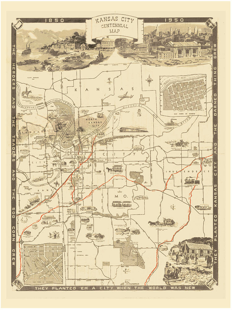 Kansas city centennial 1850 1950 vintage historical map gallup map kansas city centennial 1850 1950 vintage historical map gumiabroncs Gallery