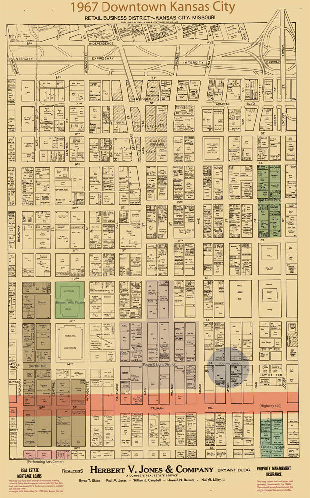 Downtown Kansas City Missouri Retail Business District Vintage Map 1967