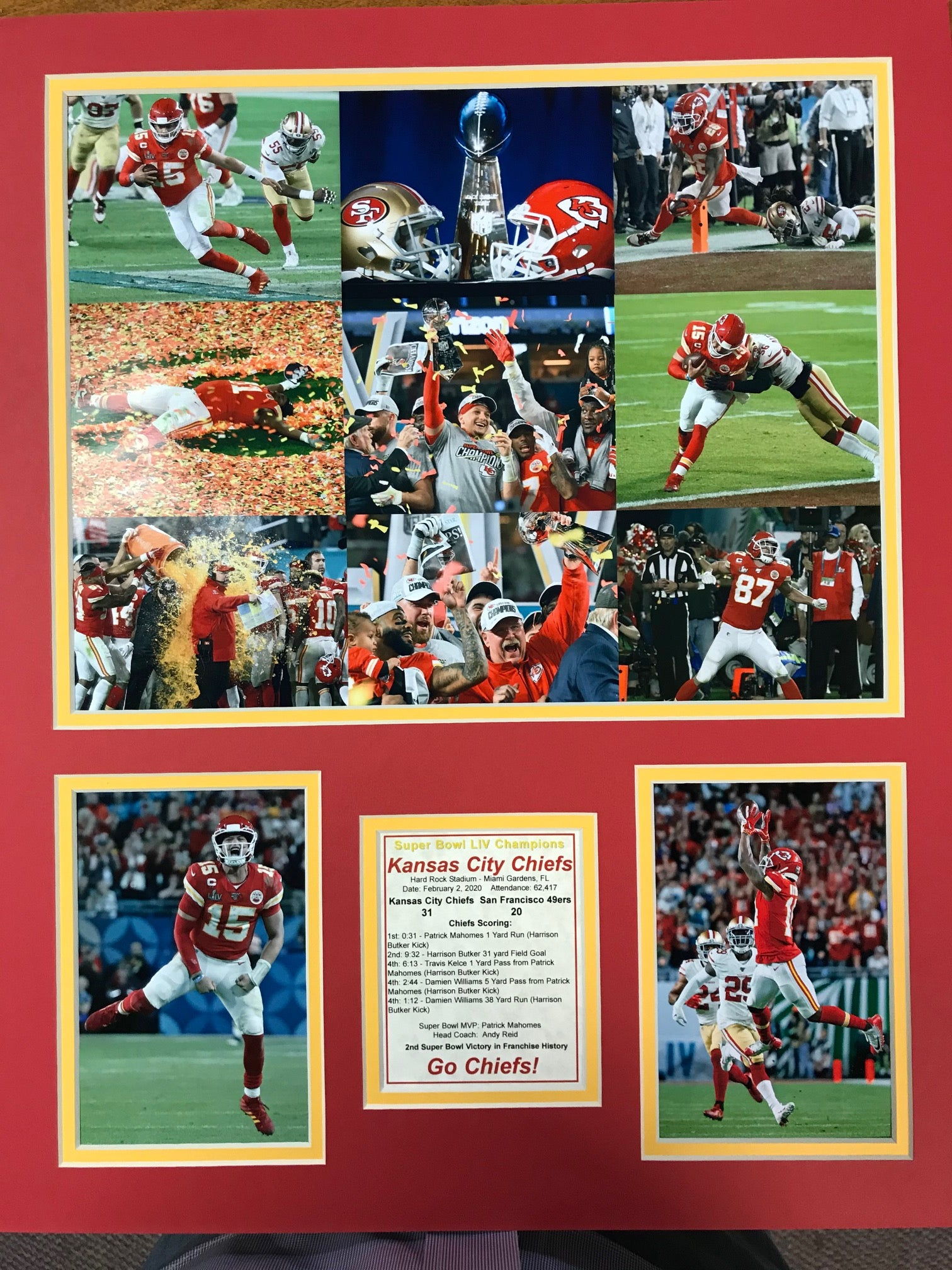 Collage of Chiefs Victory 16 x 20 matted print