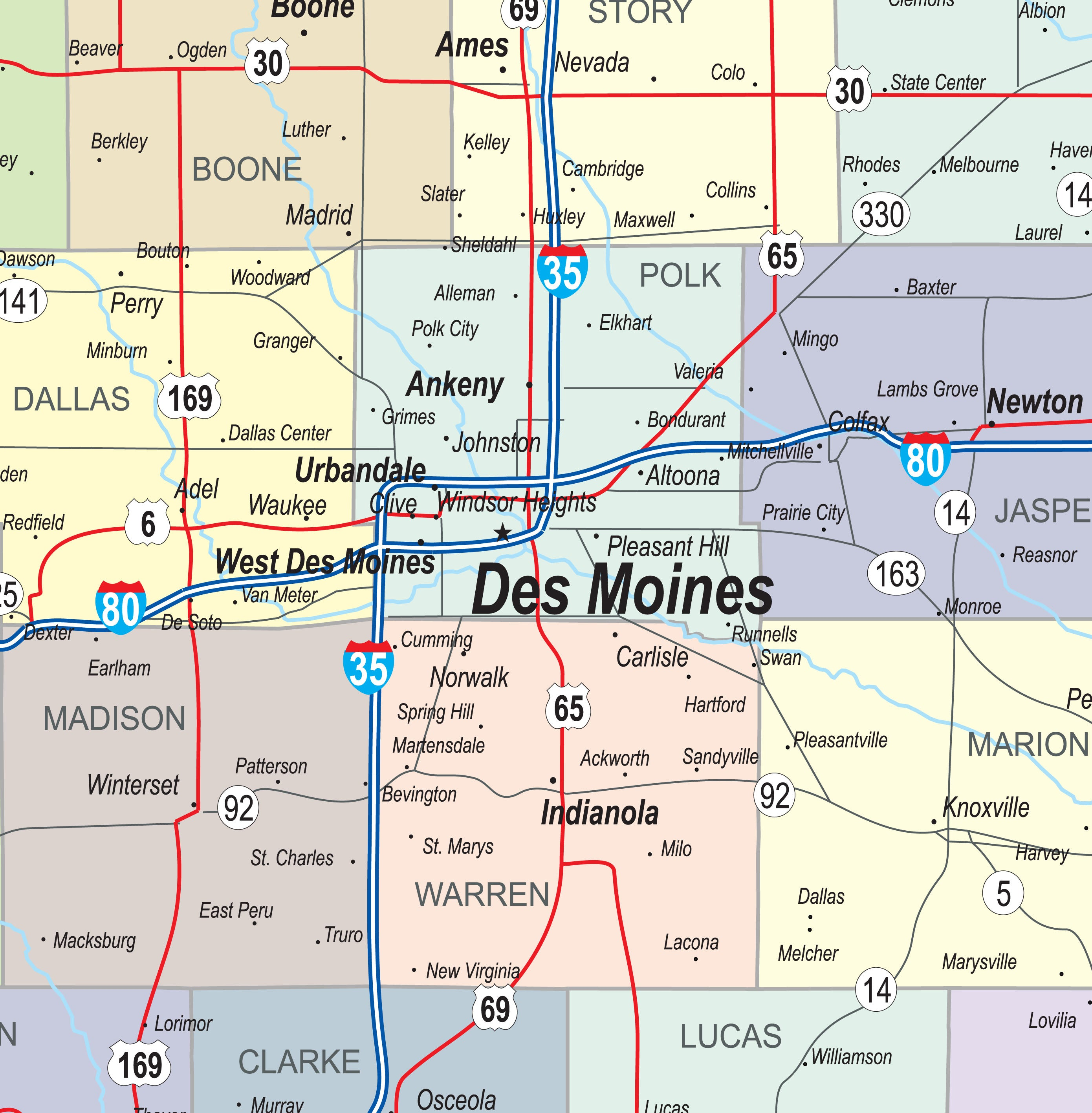 Iowa Map With Highways.Iowa Laminated Wall Map County And Town Map With Highways Gallup Map