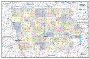 Iowa Laminated Wall Map County and Town map With Highways
